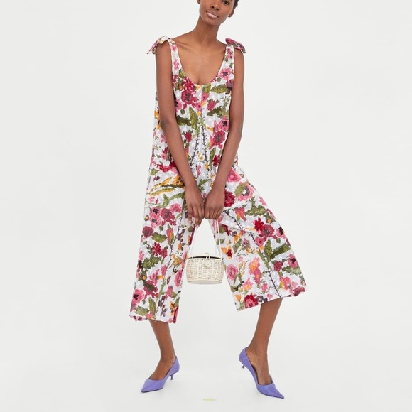 0b77513250 Zara Pants | Printed Jumpsuit With Textured Weave | Poshmark
